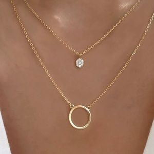 Gold Layered Circle Pendant Necklace